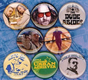1 inch set of 8 The big Lebowski buttons badge pins