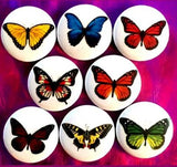 1 inch set of 8 Butterfly buttons badge pins