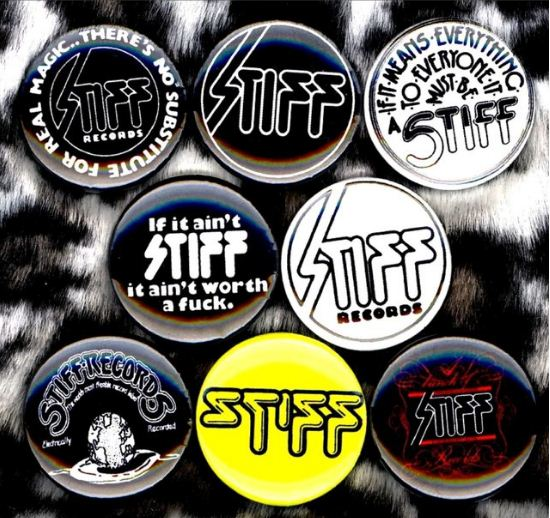 1 inch set of 8 Stiff records buttons badge pins