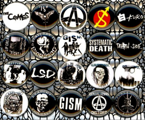 1 inch set of 20 Japan punk buttons badge pins