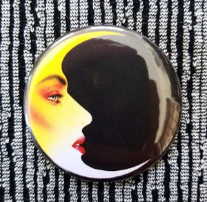 2.25 inch Makeup Crescent Moon button badge pin
