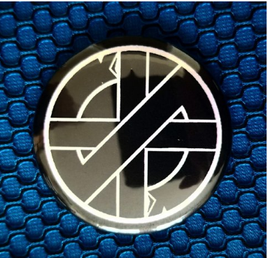 2.25 inch Crass button badge pin