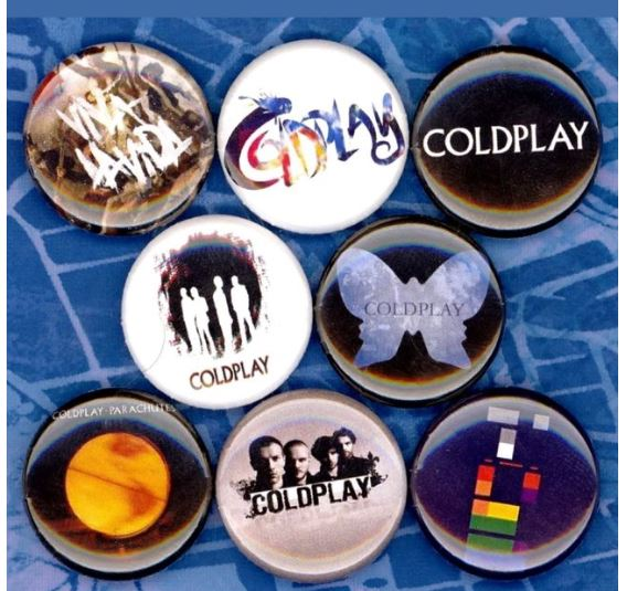 Coldplay buttons badge pin set of 8