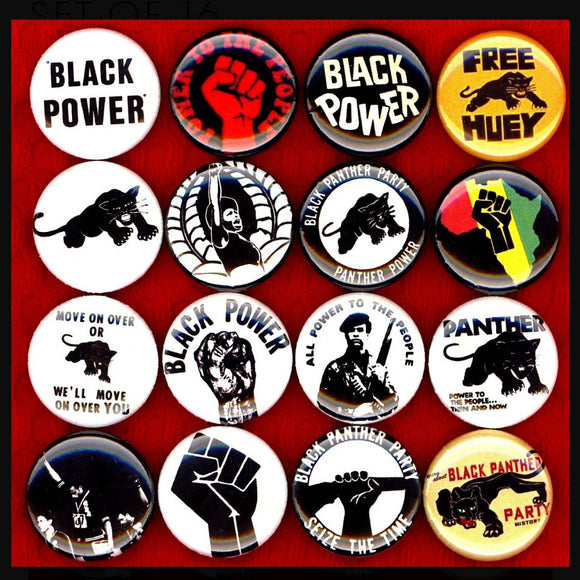 1 inch Black Panther party set of 16