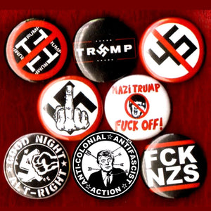 1 inch anti nazi trump set of 8 buttons badge pins