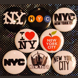 1 inch nyc set of 8 buttons badge pins