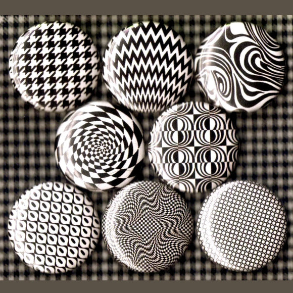 1 inch black and white pop art set of 8 buttons badge pins