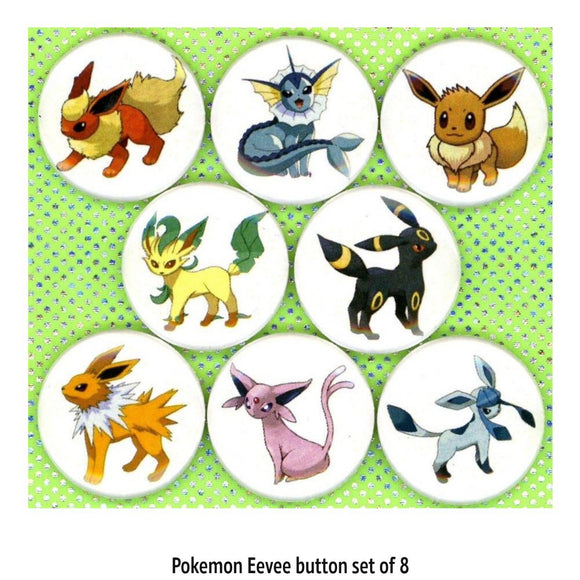 1 inch eevee set of 8 buttons badge pins