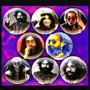 1 inch jerry Garcia buttons badge pins set of 8
