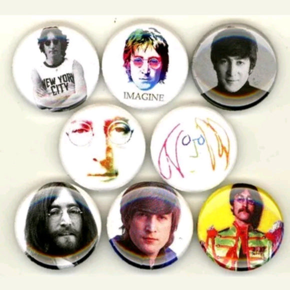 1 inch John Lennon the beatles set of 8 buttons badge pins