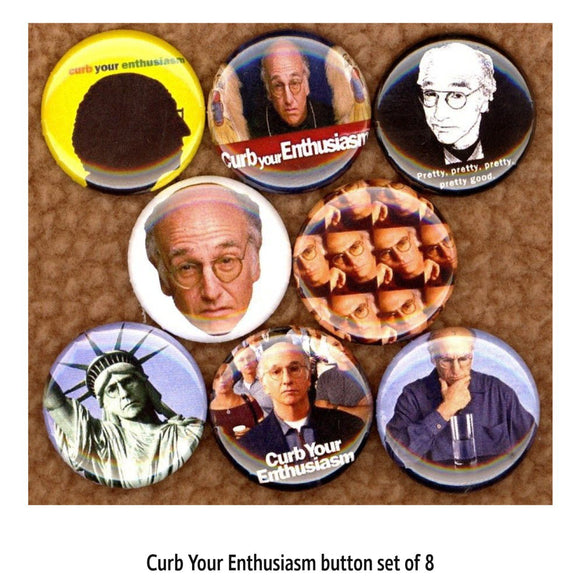 1 inch larry david set of 8 buttons badge pins