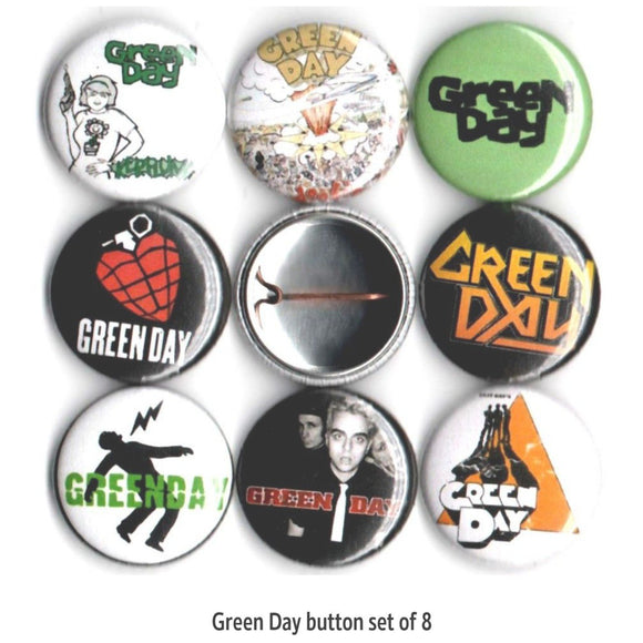 1 inch Green day button badge pins set of 8
