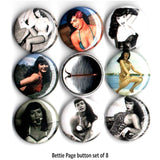 1 inch bettie page set of 8 buttons badge pins