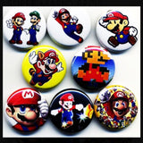 1 inch mario set of 8 buttons badge pins