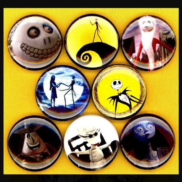 1 inch nightmare before christmas set of 8 buttons badge pins