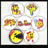 1 inch ms pacman set of 7 buttons badges pins