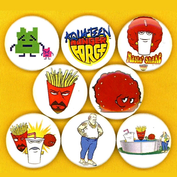 1 inch aquateen hunger force set of 8 buttons badge pins
