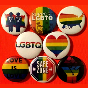 1 inch LGBTQ set of 8 buttons badge pins