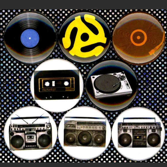 1 inch music set of 8 buttons badge pins