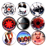 1 inch red hot chili peppers set of 8 buttons badge pins