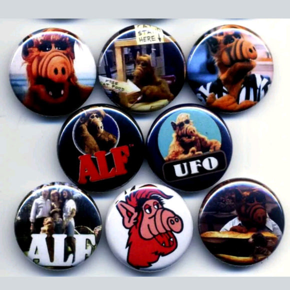 1 inch Alf set of 8 buttons badge pins