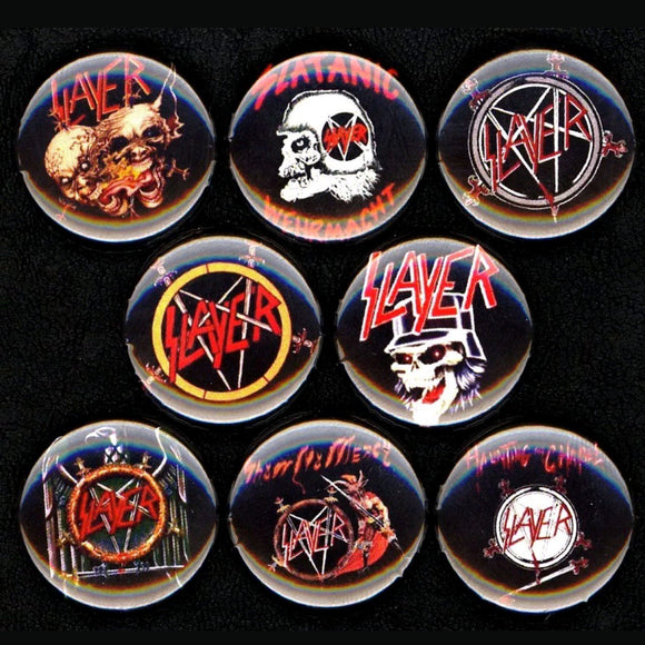 1 inch slayer metal band buttons badge pins set of 8