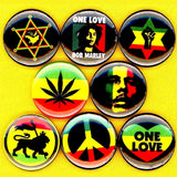 1 inch bob marley set of 8 buttons badge pins