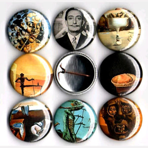 1 inch Salvador Dali set of 8 buttons badge pins