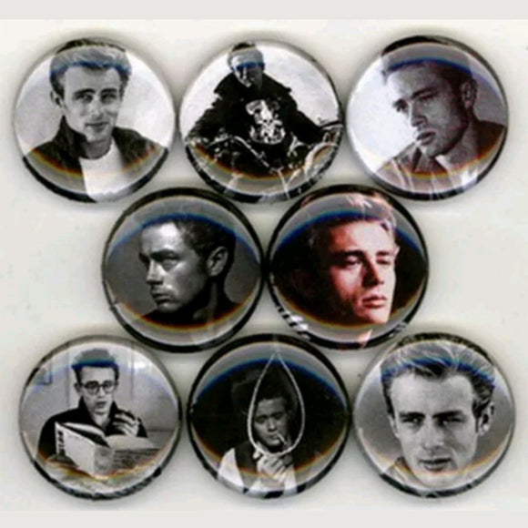 1 inch james dean set of 8 buttons badge pins