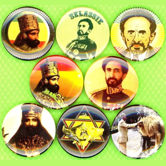 1 inch haile selassie set of 8 buttons badge pins