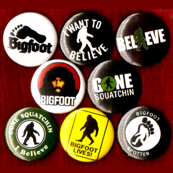 1 inch bigfoot set of 8 buttons badge pins