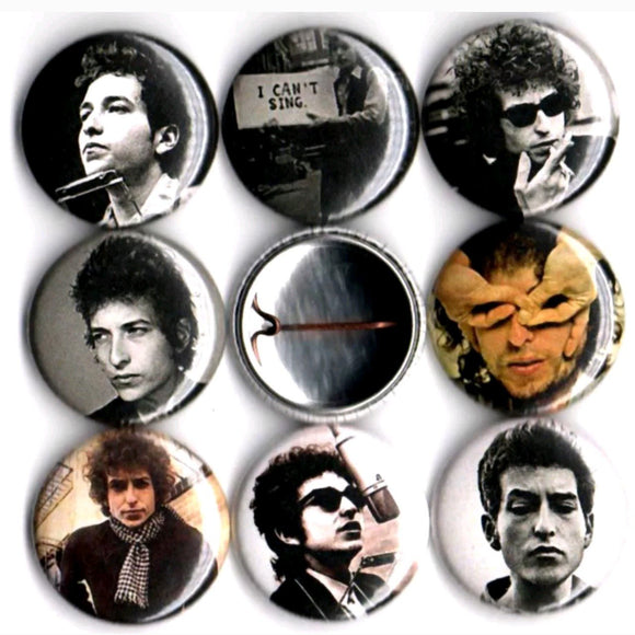 1 inch bob dylan set of 8 buttons badge pins