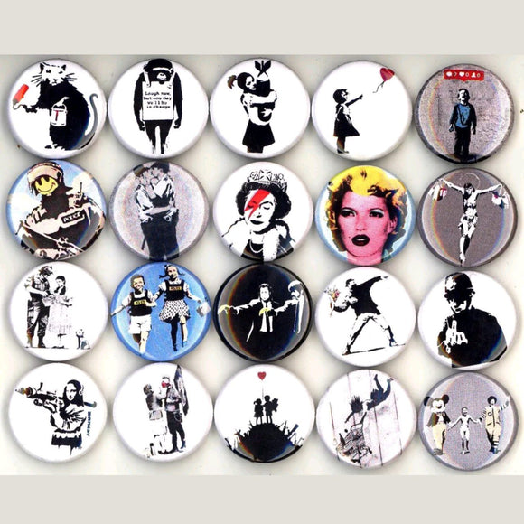 1 inch banksy buttons badge pins set of 20