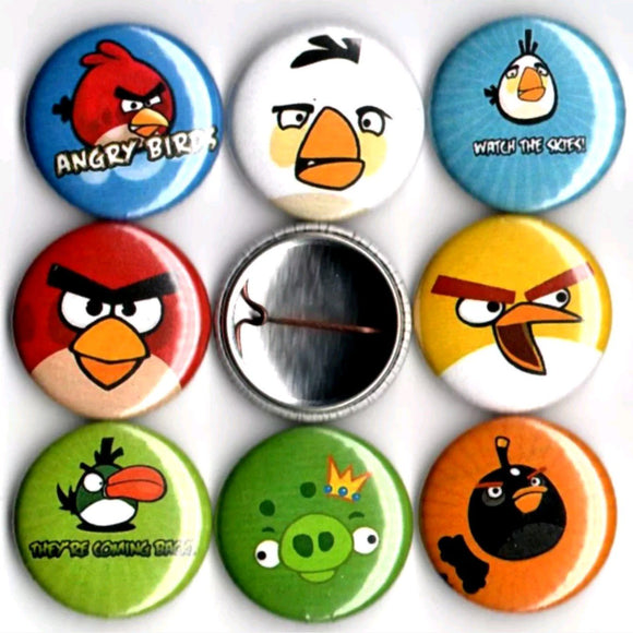 1 inch angry birds set of 8 buttons badge pins