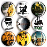 1 inch breaking bad set of 8 buttons badge pins
