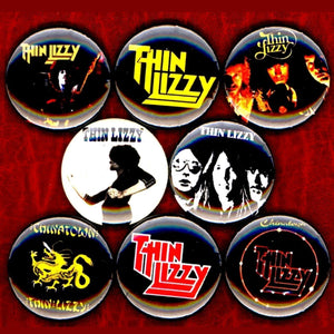 1 inch thin lizzy set of 8 buttons badge pins