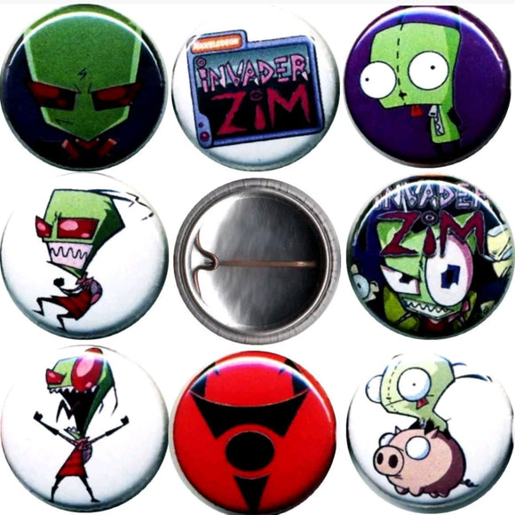 1 inch invader zim set of 8 buttons badge pins