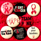 1 inch fuck cancer set of 8 buttons badge pins