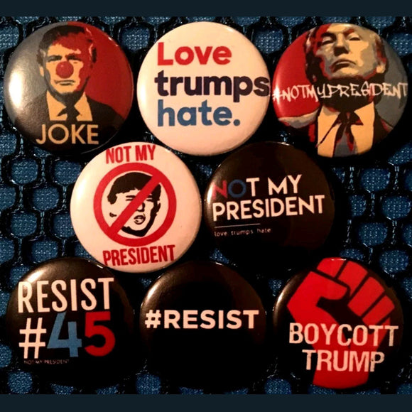1 inch anti trump set of 8 buttons badge pins