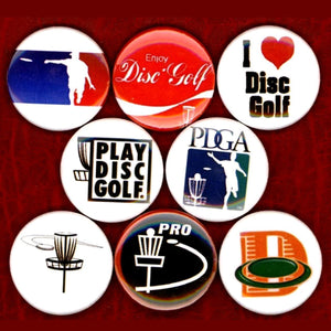 1 inch disc golf set of 8 buttons badge pins