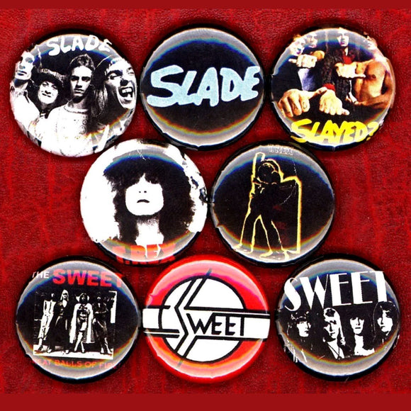 1 inch 70s glam set of 8 buttons badge pins