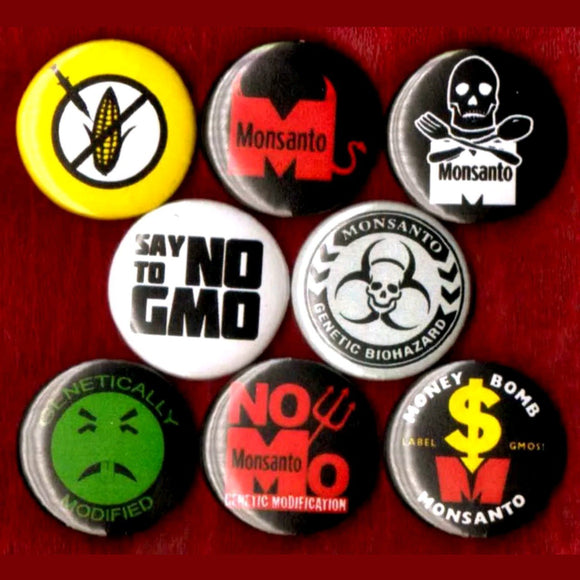 1 inch anti Monsanto set of 8 buttons badge pins