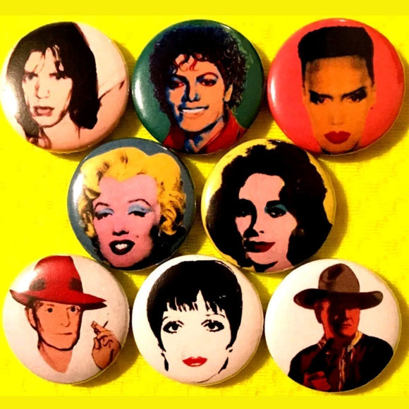 1 inch Andy Warhol portraits set of 8 buttons badge pins