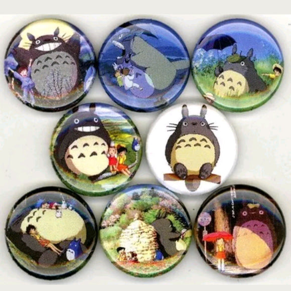 1 inch totoro set of 8 buttons badge pins