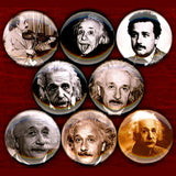 1 inch albert einstein set of 8 buttons badge pins
