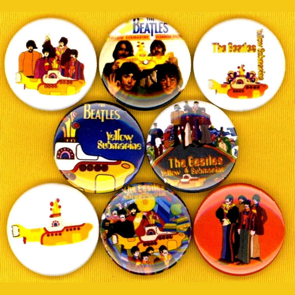 1 inch Beatles yellow submarine set of 8 buttons badge pins