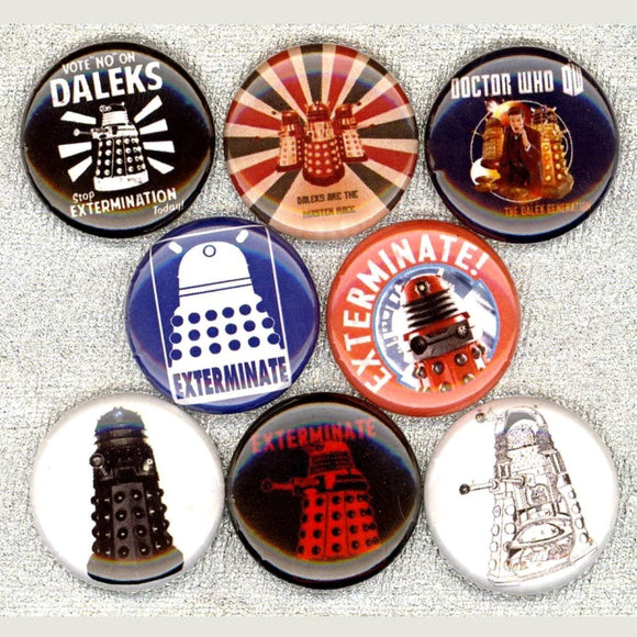 1 inch daleks dr who set of 8 buttons badge pins