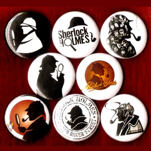 1 inch sherlock Holmes set of 8 buttons badge pins