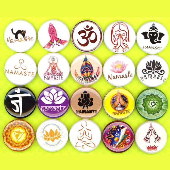 1 inch namaste badge pins set of 20