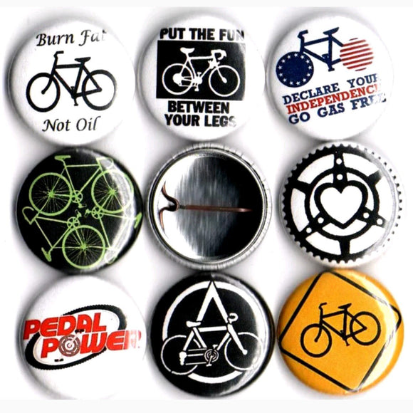 1 inch bike set of 8 buttons badge pins